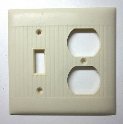 Vintage Sierra Bakelite ivory color 2 gang switch outlet plate cover combo lines