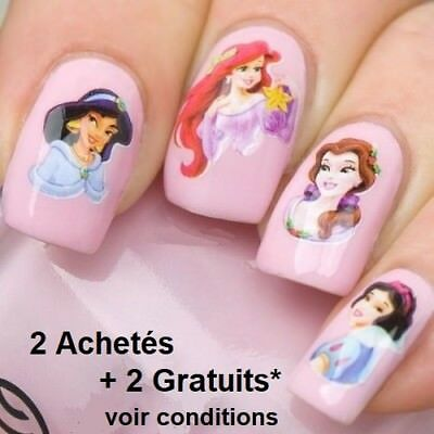 ❤️nouveau(20)Stickers 3D Princesses Disney Bijoux Ongles Water Decal Nail Art