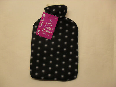 Large 2lt Hot Water Bottle With Pattern Fleece Covers