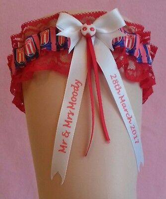 Personalised Wedding Garter with Lucky Sixpence in Stoke City Colours