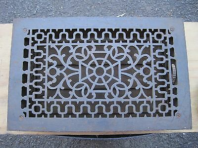 Antique rectangle Heat Grate Vent Grille Register Cast Iron w Louvers Salvage 17