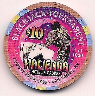 "HACIENDA $10 LTD ED 1996 ""BLACKJACK TOURNAMENT CLOSED Casino Chip LImited  1000"