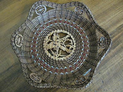 Scroll Sawn Flying Pheasant with Maroon Accent Pine Needle Basket
