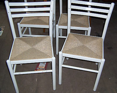 """Vintage good quality rush seat painted kitchen chairs x 4 all used 31.1/2"""" tall"""