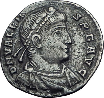 VALENS w Labarum 366AD Rare Authentic Ancient Silver Siliqua Roman Coin i64043