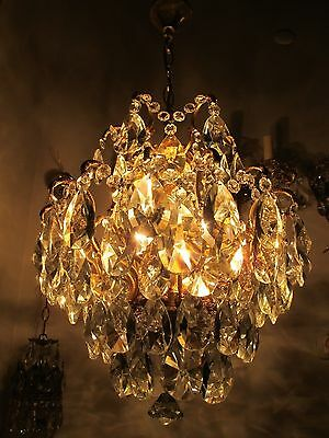 Antique Vnt French Spider Style Crystal Chandelier Lamp 1940s 16in Rare----