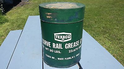 Vintage Large 50LB Heavy Cardboard Texaco Curve Rail Grease Oil Can Garage Deco