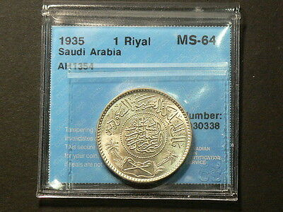 Saudi Arabia 1935 1 Riyal, CCCS MS 64, High Uncirculated Grade #G6383