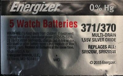 5-371/370- 5 Quantity Energizer Battery  SR920SW  SR920W V371-Authorized seller.