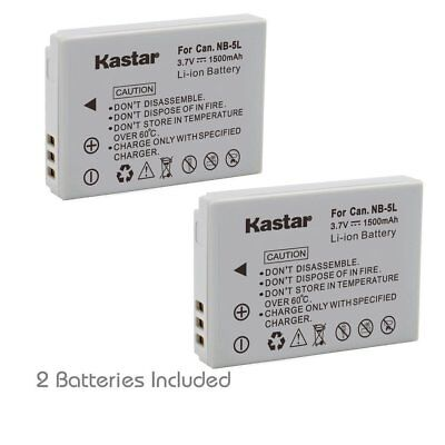 NB-5L Battery & Slim LCD Charger for Canon PowerShot SD880 IS, SD890 IS,SD900 IS