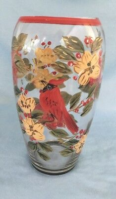 """9"""" LARGE Hand Painted Glass Cardinal Red Bird Vase"""
