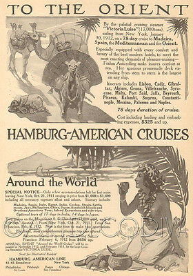 Antique 1910's ORIENT Camel Tropical Cruise Ship NUDE Woman Native Travel Ad