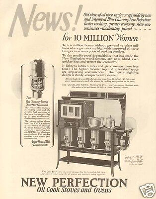Antique 1920s NEW PERFECTION Oil Cook Kitchen Stove BLUE CHIMNEY Appliance AD