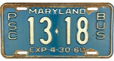 1960 Maryland PSC PUBLIC SERVICE COMMISSION BUS License Plate #13-18