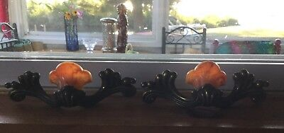 Set Of 2 Two Vintage Orange Bakelite Heavy Brass Handles Drawer Pulls Art Deco