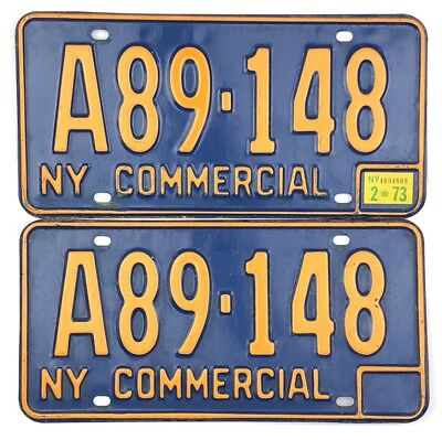 1966-1972 New York License Plate #XM-7549 With 1972 Sticker Showing
