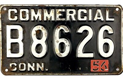 1956 Connecticut COMMERCIAL License Plate #B8626