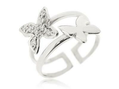 Sovats Hot 925 Silver Butterfly Ring Finger Fashion Women Adjustable Size 5-12