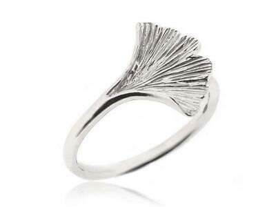High Quality 925 Sterling Silver Jewelry Ginkgo Leaf Rings for Women Size 5-12