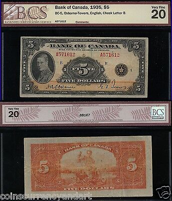 1935  $5  Banknote  Bank Of Canada