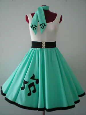 "ROCK N ROLL/ROCKABILLY ""Music Notes"" SKIRT-SCARF XS-S Pastel Green."