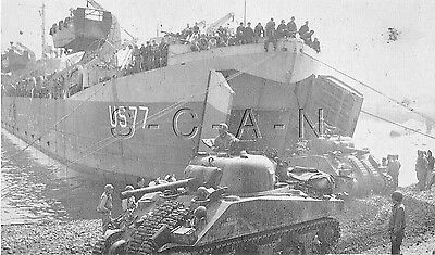 WWII Org 1940s Photo Finish PC- Camp Bradford Little Creek VA- Sherman Tank- LST