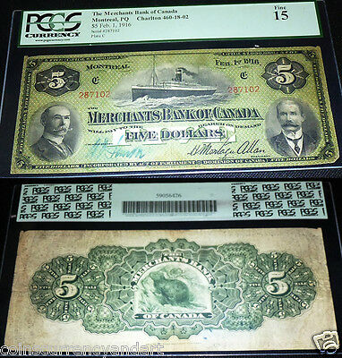 Merchants Of Canada 1916  $5 . Pcgs Graded