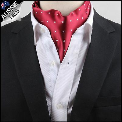 Men's Red with White Polka Dots Ascot Cravat