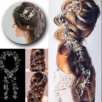 Pearls Wedding Hair Vine Crystal Bridal Accessories Diamante Headpiece 1 Piece