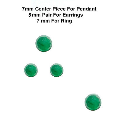 4 pc set 7/5 mm Rose Cut Faceted Cabochon Natural Green Emerald Loose Gems