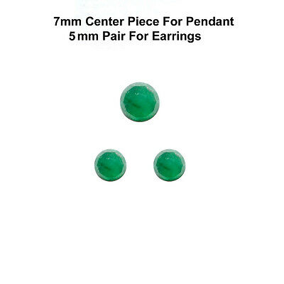3 pc set 7/5 mm Rose Cut Faceted Cabochon Natural Green Emerald Loose Gems