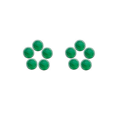6x6mm 10pc Rose Cut Faceted Cabochon Natural Green Emerald Loose Gems