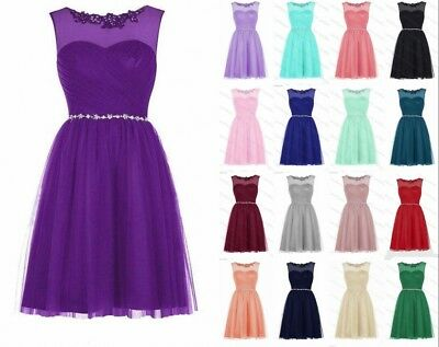 Formal Short Beads Evening Cocktail Party Ball Gowns Bridesmaid Dress Prom 6-18