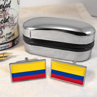 Colombia Flag Cufflinks & Box