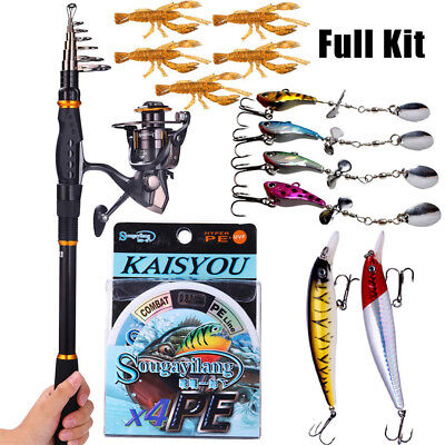 Fishing Rod Reel Kit Telescopic Fishing Pole with Fishing Reel Line Lures Combo