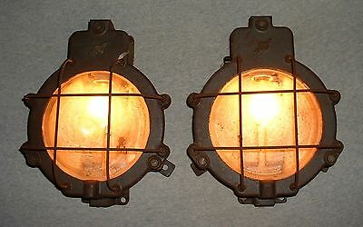 Vintage French cast iron and glass Industrial pair of sconces