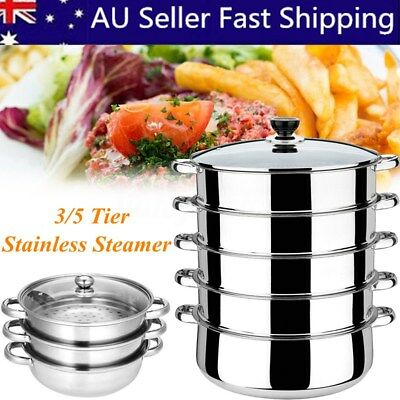 3/5 Tier Stainless Steel Steamer Saucepan Pot Induction Compatible Kitchen Tool