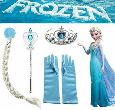 Kids Frozen Princess Elsa Anna Gloves Tiara Crown Braid Wig Hair Piece Wand 4Pcs