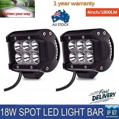 2x 4inch 18W 6 LED Work Light Bar Driving Lamp Flood Truck Offroad UTE 4WD AU