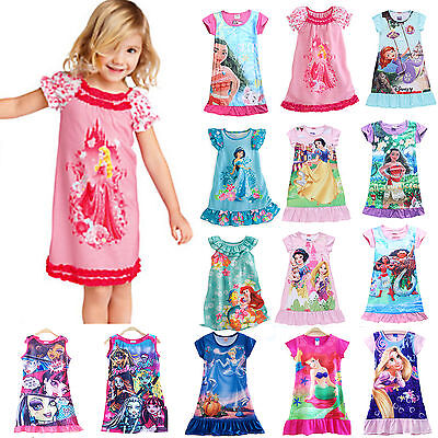 Girls Kids Clothes Casual Sleepwear Nightgown Dress Pajamas Princess Nightwear