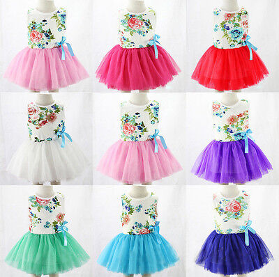 Kids Girls Toddler Baby Princess Dress Bow Flower Tutu Skirt Costume Sundress AU