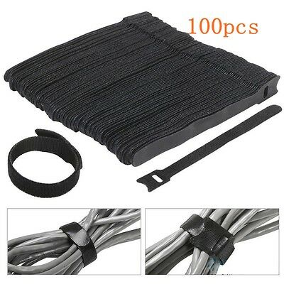 100x Reusable Nylon Hook Loop Cable Cord Ties Tidy Straps PC TV Organiser Black