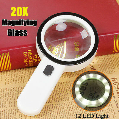 20X LED Lighted Magnifying Glass Handheld Reading Loupe Magnifier With 12 LED