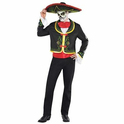 Mens Day Of The Dead Senor Halloween Costume Fancy Dress Outfit Standard Size