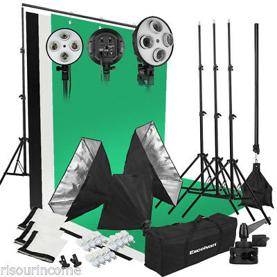 Excelvan 2000W Photo Studio LED Lighting Kit-3 Color Backdrop+ 4-Socket + Stand