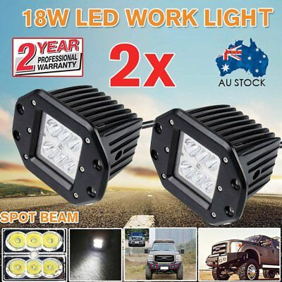 2X 18W FLOOD LED Work Light Driving Lamp Truck Boat Flush Mount UTE 4WD VR 36W A