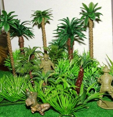 40 Rainforest Jungle Palm Trees Plants Grasses Tropical Plastic 1/87 -1/35 scale