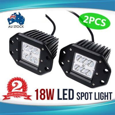 2X 18W Flood LED Work Light Driving Lamp Truck Boat Flush Mount UTE 4WD VR 36W B