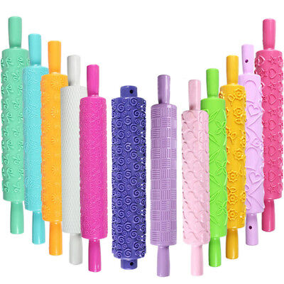 Cookie Baking Textured Embossing Plastic Rolling Pin Fondant Cake Roller Tools