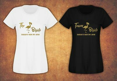 Hen Do Party Bride Tribe 2019 Personalised T-shirt Ladies Female Flamingo Team